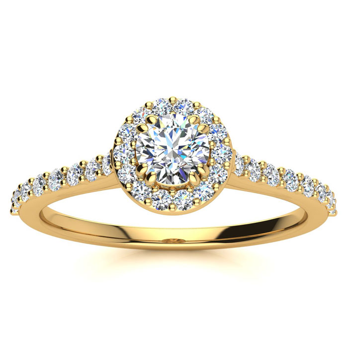 1/2 Carat Perfect Halo Diamond Engagement Ring in 14K Yellow Gold