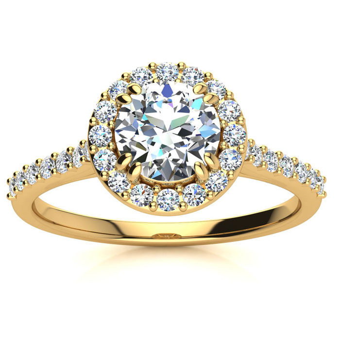 1 Carat Perfect Halo Diamond Engagement Ring in 14K Yellow Gold (
