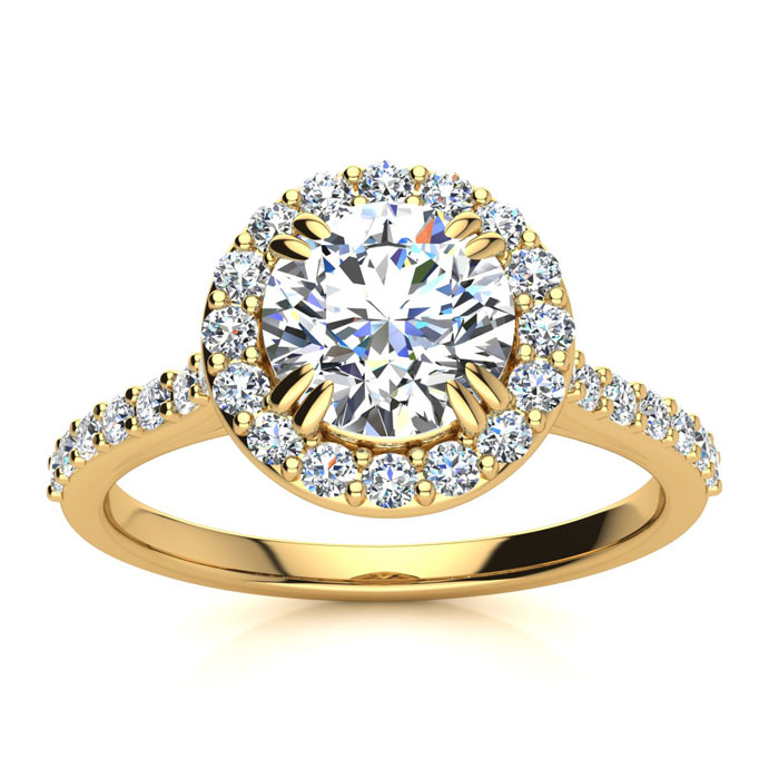 1.25 Carat Perfect Halo Diamond Engagement Ring in 14K Yellow Gol