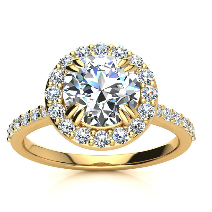 2 Carat Perfect Halo Diamond Engagement Ring in 14K Yellow Gold (