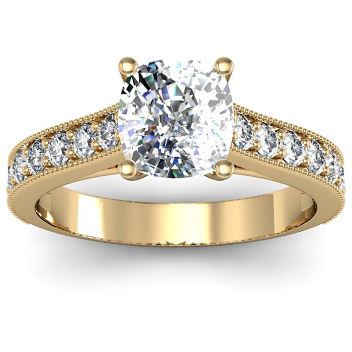 1.5 Carat Solitaire Engagement Ring w/ 1 Carat Cushion Cut Center