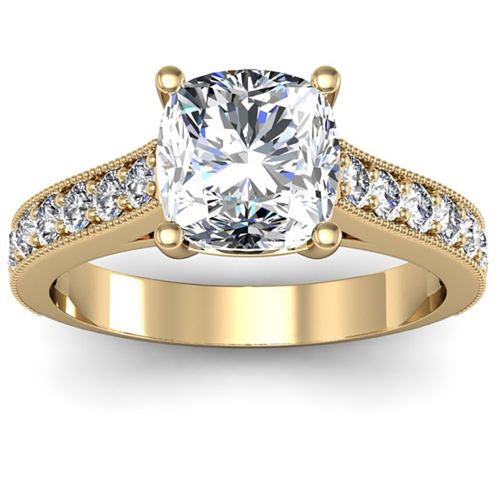 2.00 Carat Solitaire Engagement Ring With 1.50 Carat Cushion Cut Center Diamond In 14K Yellow Gold