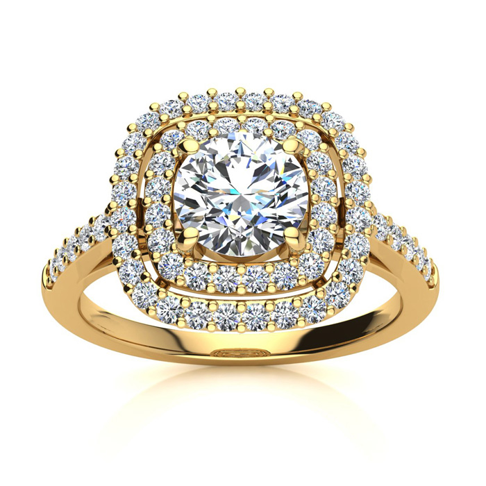 Double Halo 1.50 Carat Engagement Important Looking Ring in 14K Y