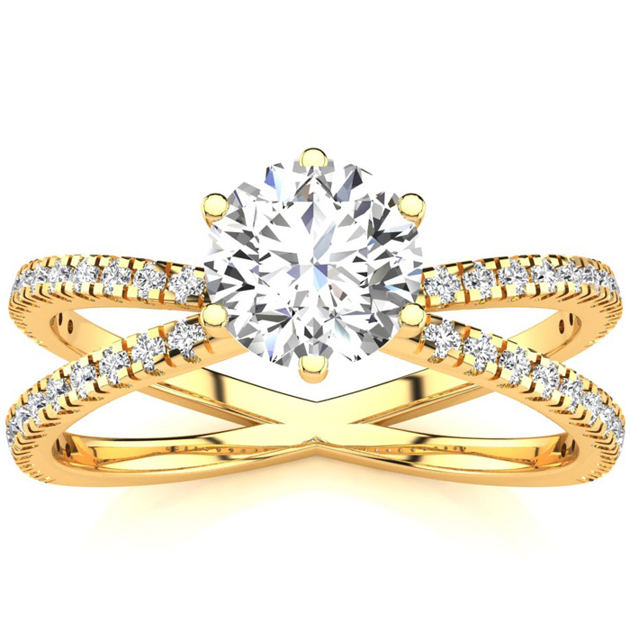Modern X Band 1.25 Carat Solitaire Engagement Ring w/ 48 Side Diamonds in 14K Yellow Gold (3.5 g) (I-J, I1-I2 Clarity Enhanced) by SuperJeweler