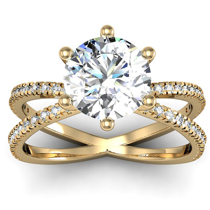 Modern X Band 2.25 Carat Solitaire Engagement Ring w/ 48 Side Dia