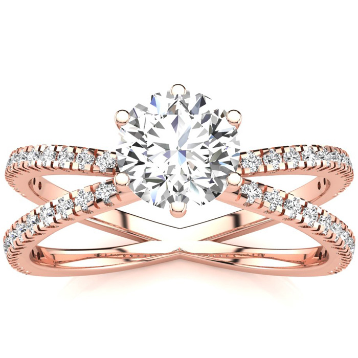 Modern X Band 1.25 Carat Solitaire Engagement Ring w/ 48 Side Dia
