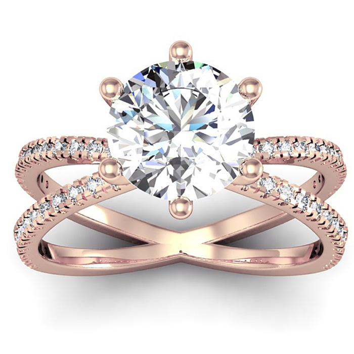 Modern X Band 2.25 Carat Solitaire Engagement Ring w/ 48 Side Diamonds in 14K Rose Gold (5 g) (I-J, I1-I2 Clarity Enhanced) by SuperJeweler