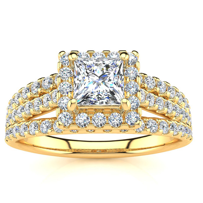 1 Carat Elegant Princess Cut Halo Diamond Engagement Ring in 14K