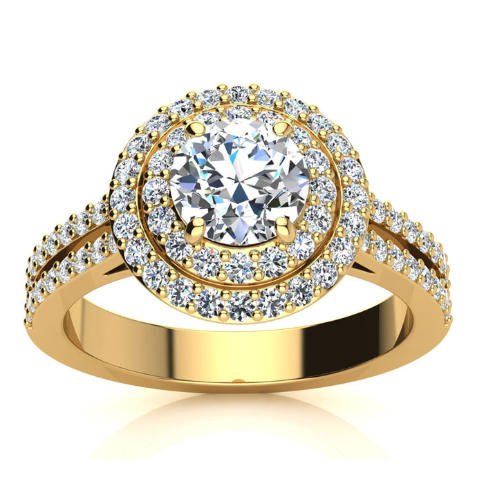 1.5 Carat Double Halo Round Diamond Engagement Ring in 14K Yellow