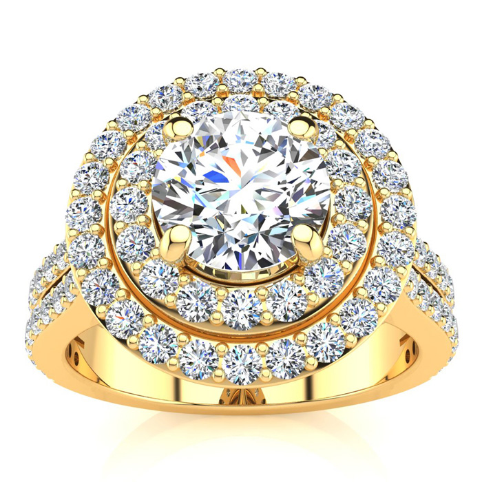 2 Carat Double Halo Round Diamond Engagement Ring in 14K Yellow G