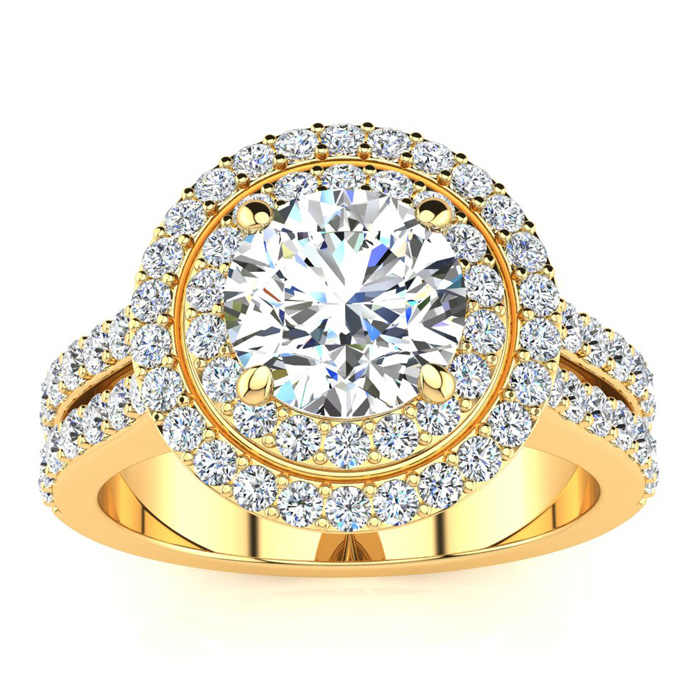 2.5 Carat Double Halo Round Diamond Engagement Ring in 14K Yellow