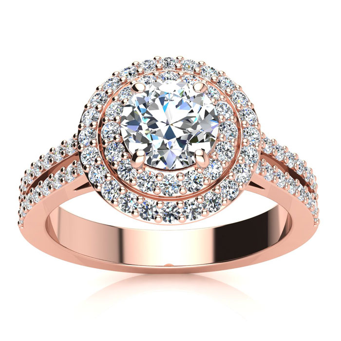 1.5 Carat Double Halo Round Diamond Engagement Ring in 14K Rose G