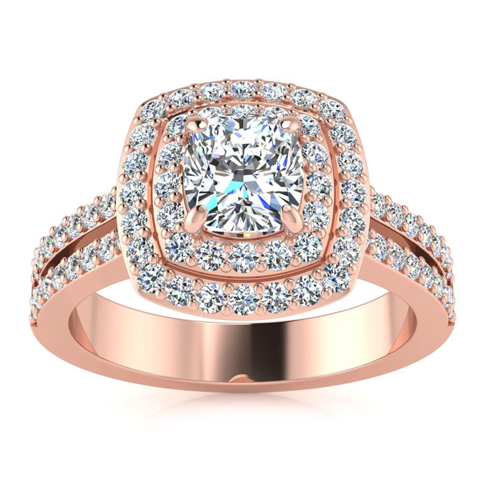 1.5 Carat Halo Diamond Engagement Ring in 14k Rose Gold (5.7 g) (I-J, I1-I2 Clarity Enhanced) by SuperJeweler