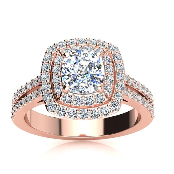 2 Carat Double Halo Cushion Cut Diamond Engagement Ring in 14K Ro