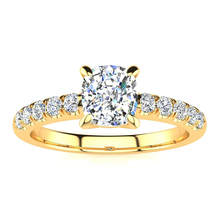 1 1/3 Carat Traditional Diamond Engagement Ring w/ 1 Carat Center Cushion Cut Solitaire in 14K Gold (4.5 g) (I-J, I1-I2 Clarity Enhanced) by