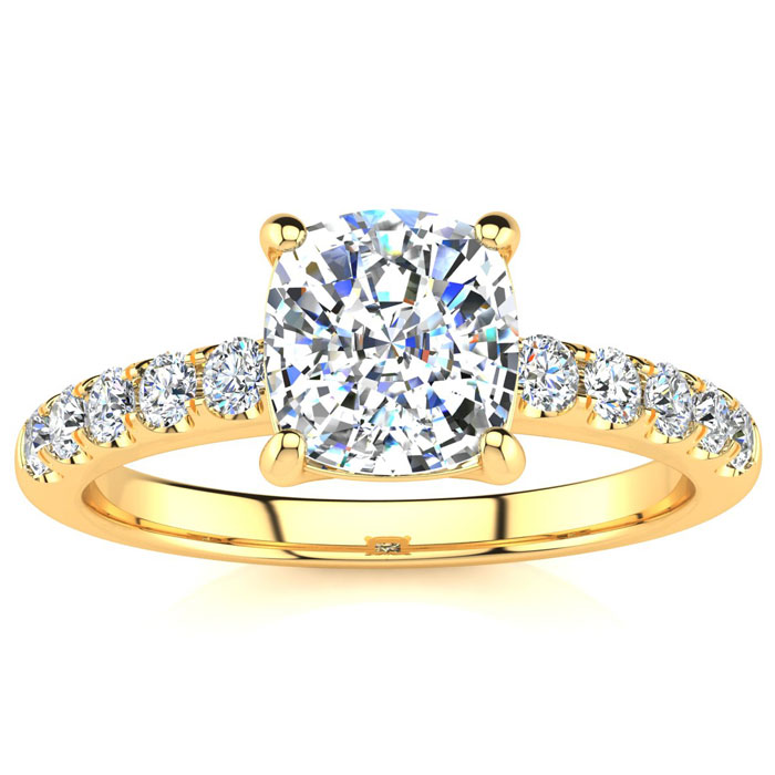 1 3/4 Carat Traditional Diamond Engagement Ring w/ 1.5 Carat Center Cushion Cut Solitaire in 14K Gold (4.5 g) (I-J, I1-I2 Clarity Enhanced) by