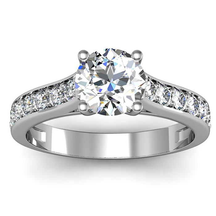 1.5 Carat Classic Engagement Ring w/ 1 Carat Center Diamond in 14