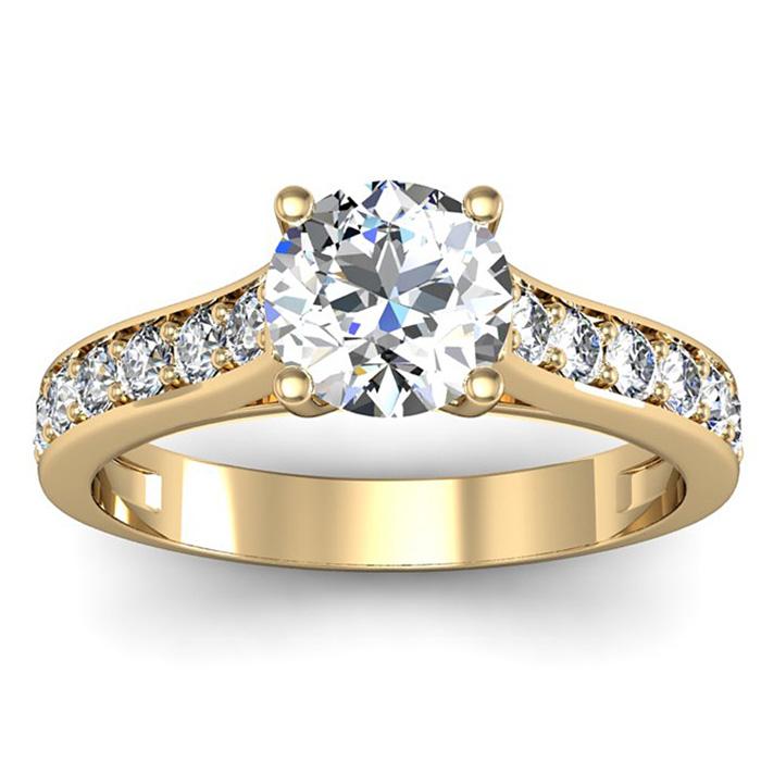 1.5 Carat Classic Engagement Ring w/ 1 Carat Center Diamond in 14