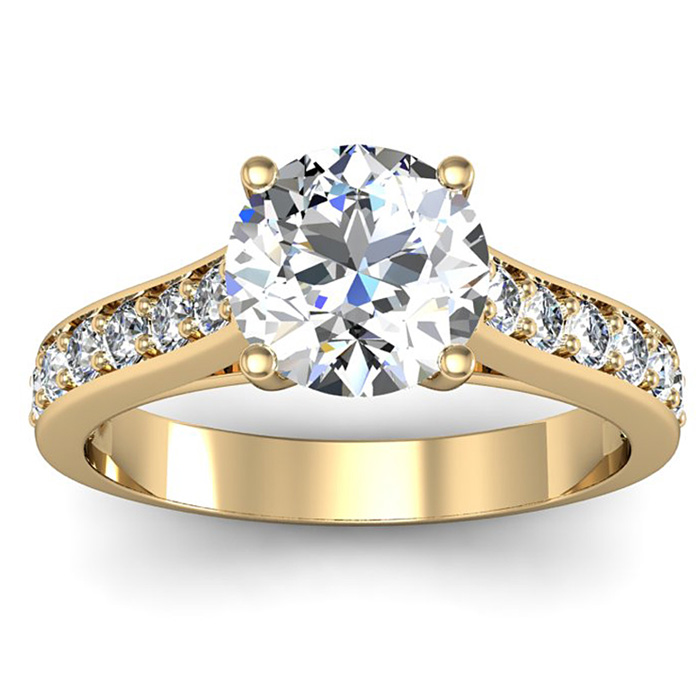 2 Carat Classic Engagement Ring w/ 1.5 Carat Center Diamond in 14