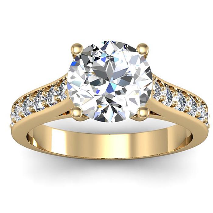 2.5 Carat Classic Engagement Ring w/ 2 Carat Center Diamond in 14K Yellow Gold (4 g) (I-J, I1-I2 Clarity Enhanced) by SuperJeweler