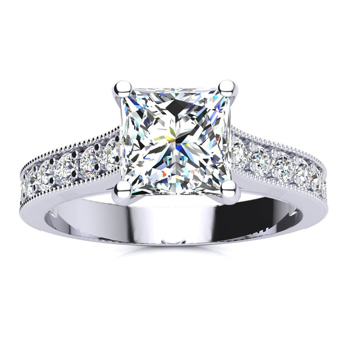 2.5 Carat Solitaire Engagement Ring w/ 2 Carat Princess Cut Center Diamond in 14K White Gold (4 g) (I-J, I1-I2 Clarity Enhanced) by SuperJeweler