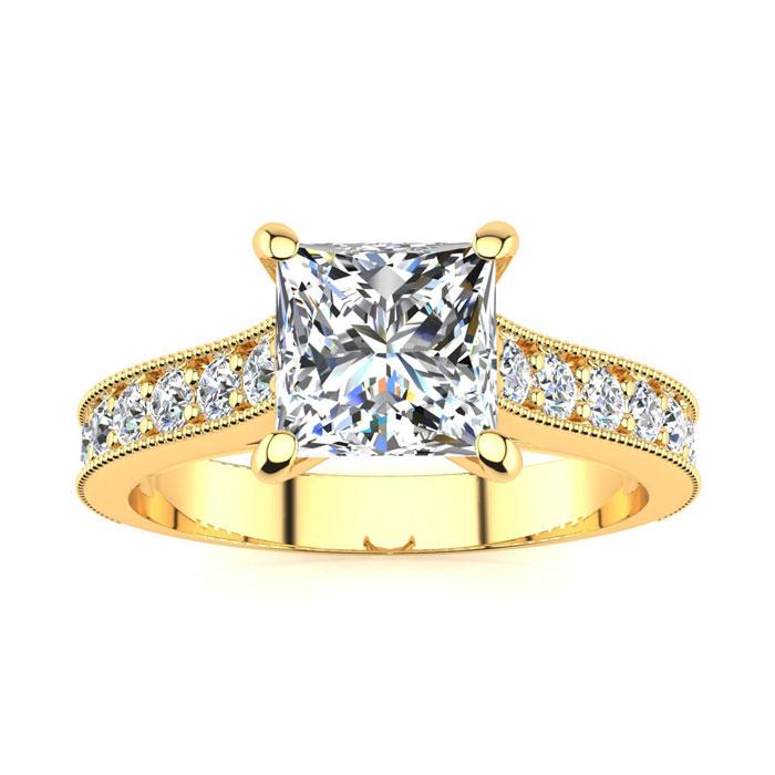 1.5 Carat Solitaire Engagement Ring w/ 1 Carat Princess Cut Cente