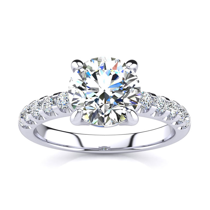 2 1/3 Carat Traditional Diamond Engagement Ring w/ 2 Carat Center