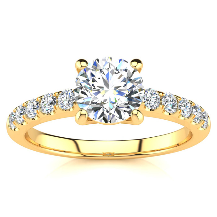 1 1/3 Carat Traditional Diamond Engagement Ring w/ 1 Carat Center