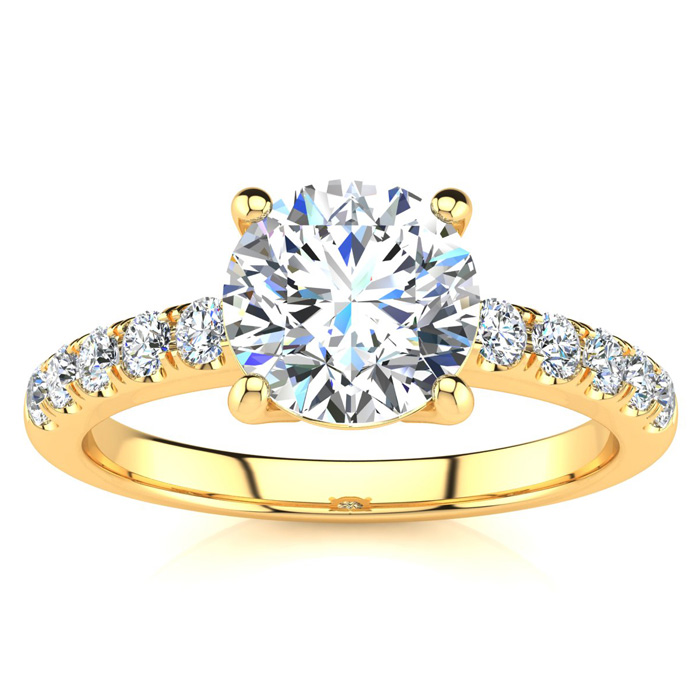 1 3/4 Carat Traditional Diamond Engagement Ring w/ 1.5 Carat Cent