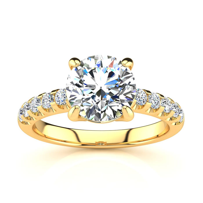 2 1/3 Carat Traditional Diamond Engagement Ring w/ 2 Carat Center Round Solitaire in 14K Gold (4.5 g) (