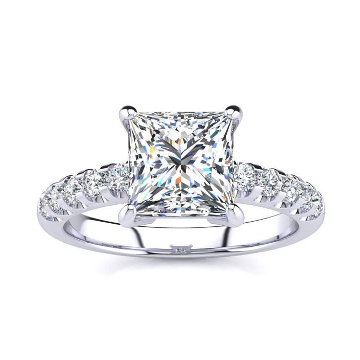 2.5 Carat Traditional Diamond Engagement Ring w/ 2.15 Carat Cente