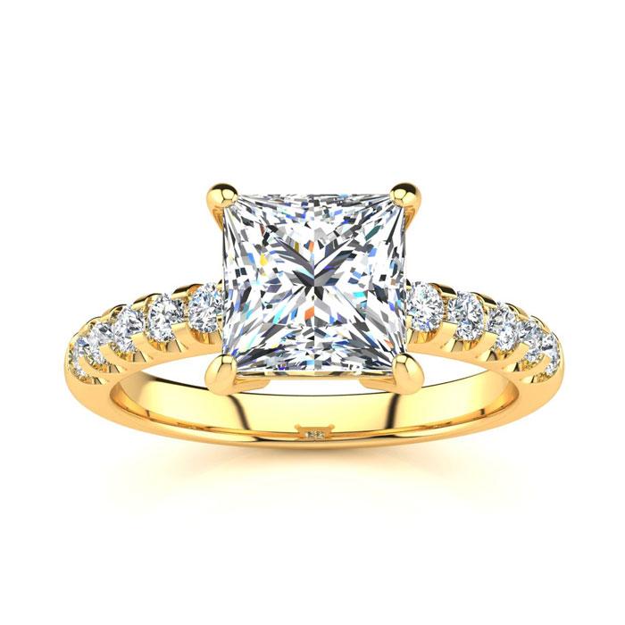 2.5 Carat Traditional Diamond Engagement Ring w/ 2.15 Carat Cente