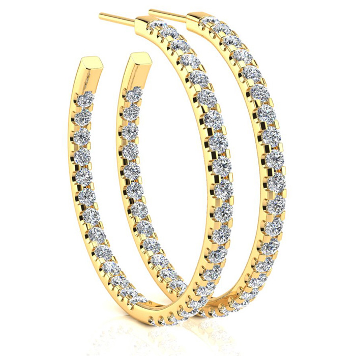 14K Yellow Gold (6.5 g) 3 Carat Diamond Three Quarter Hoop Earrin