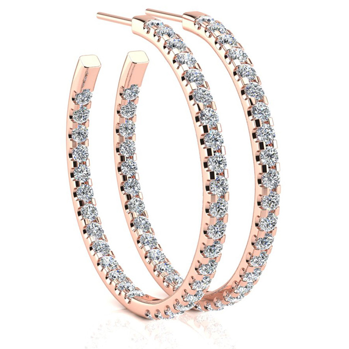 14K Rose Gold (6.5 g) 3 Carat Diamond Three Quarter Hoop Earrings