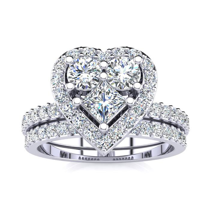 1 carat heart shaped bridal engagement ring set in 14k white gold item number jwl 18865 - Pear Shaped Wedding Ring Sets