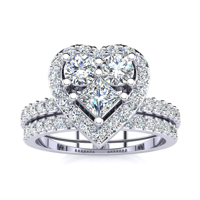 1 Carat Heart Halo Diamond Bridal Engagement Ring Set in 14k Whit