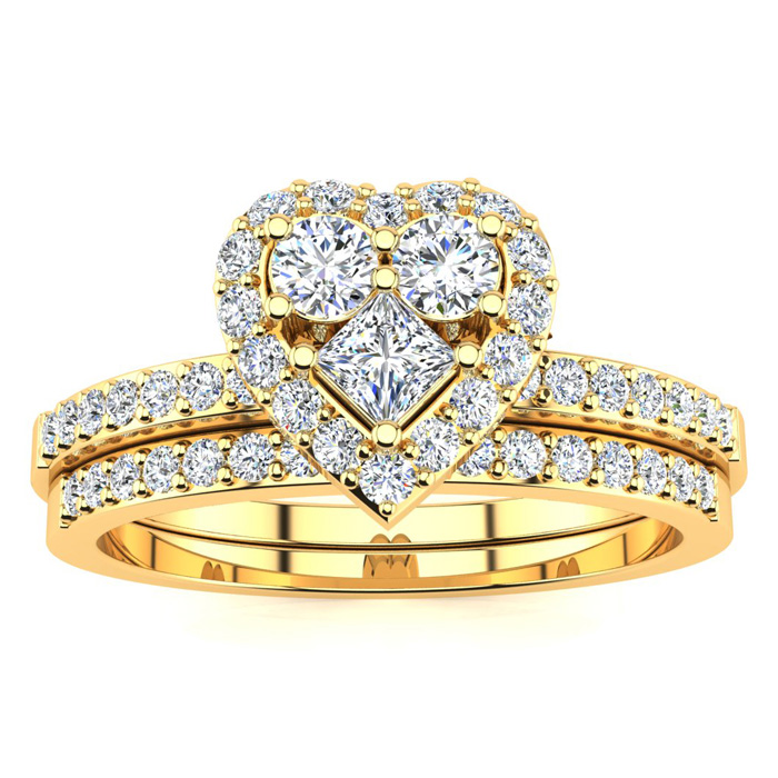 1/2 Carat Heart Halo Bridal Engagement Ring Set in Yellow Gold (5