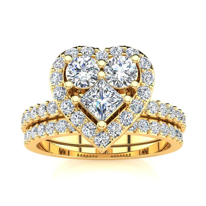 1 Carat Heart Halo Bridal Engagement Ring Set in 14k Yellow Gold