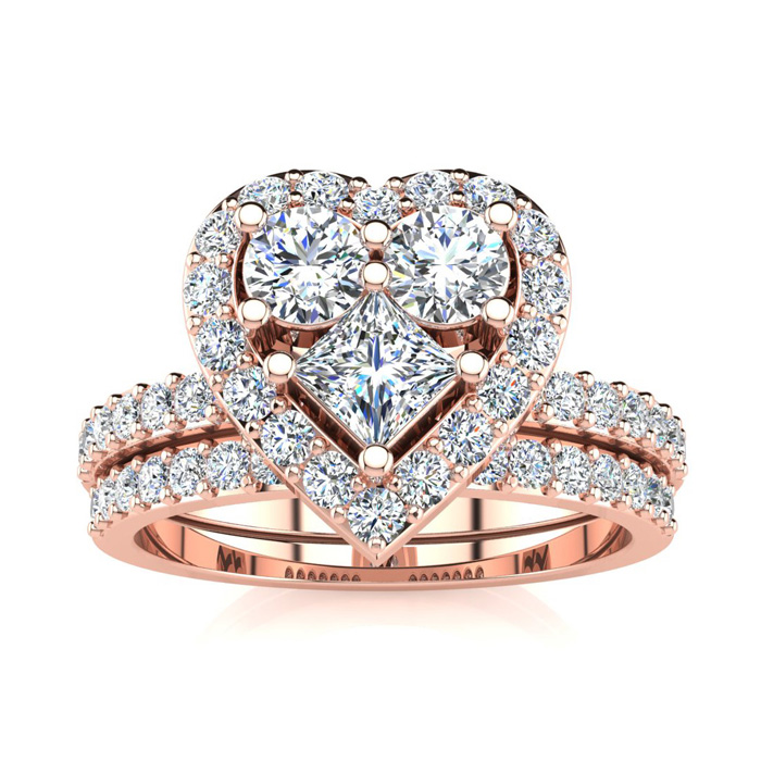 1 Carat Heart Halo Diamond Bridal Engagement Ring Set in 14k Rose