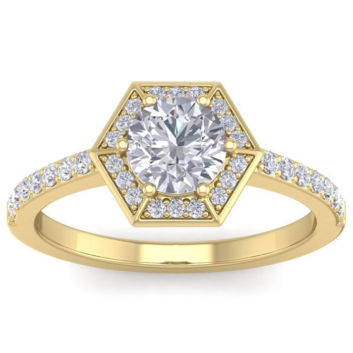 1.50 Carat Designer Engagement Ring w/ 1 Carat Round Brilliant Ce