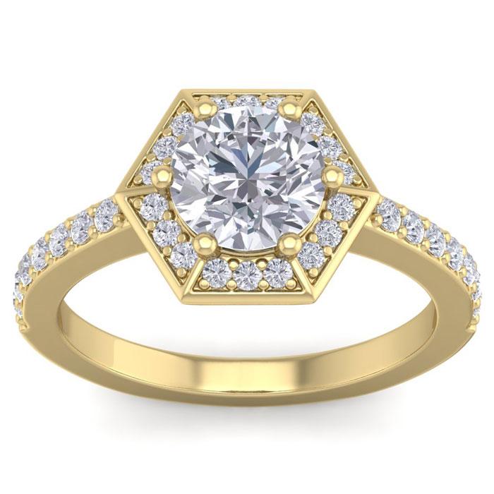 2.5 Carat Halo Diamond Engagement Ring in 14K Yellow Gold (3.90 g) (