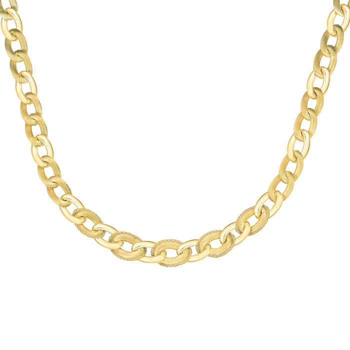 14K Yellow Gold (25.2 g) 18 Inch Brush-Finish Popcorn Trim Link Chain Necklace by SuperJeweler