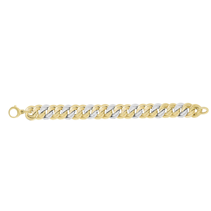 14K Yellow & White Gold (12.8 g) 14.8mm 7.5 Inch Twisted Flat Double Round Link Fancy Chain Bracelet by SuperJeweler