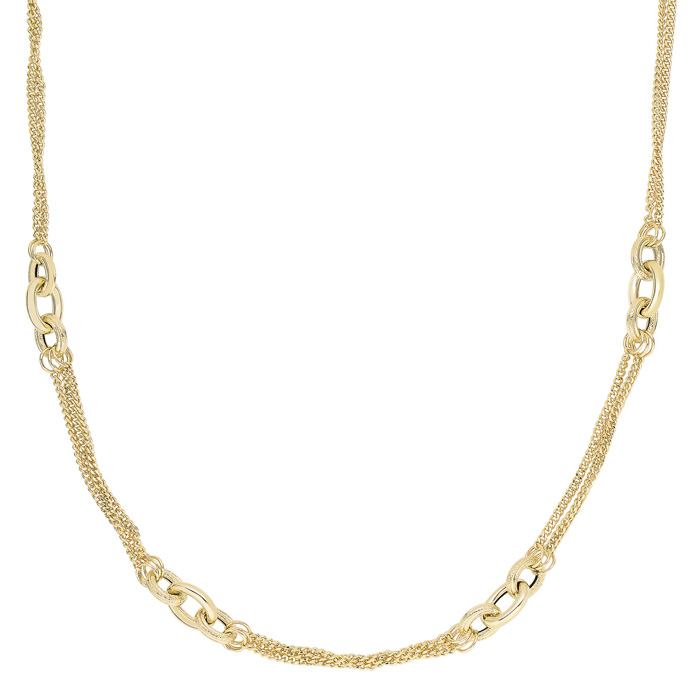 14K Yellow Gold (6.5 g) 18 Inch Shiny & Diamond Cut Oval Link Cluster Fancy Necklace by SuperJeweler