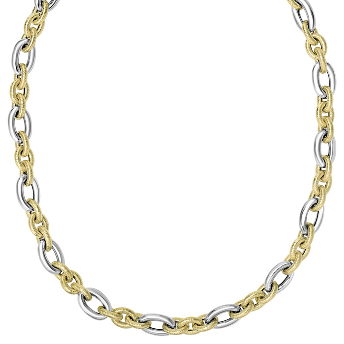 14K Yellow & White Gold (17.5 g) 18 Inch Textured & Shiny Fancy Chain Necklace by SuperJeweler