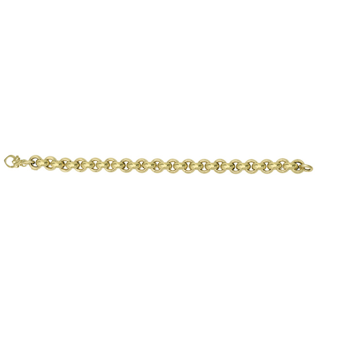 Image of 14 Karat Yellow Gold 9.75mm 8 Inch Round Rolo Type Bracelet
