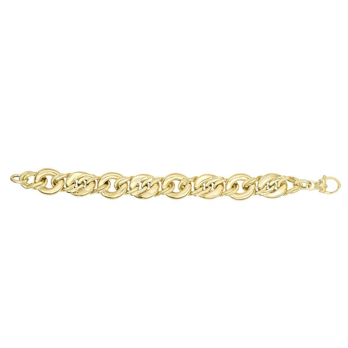 14K Yellow Gold (16 g) 8 Inch Shiny Bulky Oval Link Chain Bracele