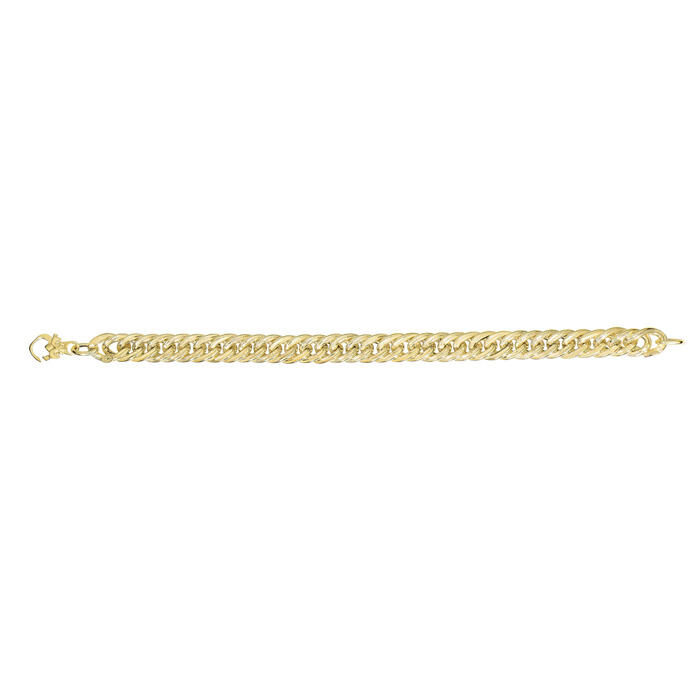 14K Yellow Gold (6.5 g) 7.5 Inch Ridged Fancy Link Chain Bracelet