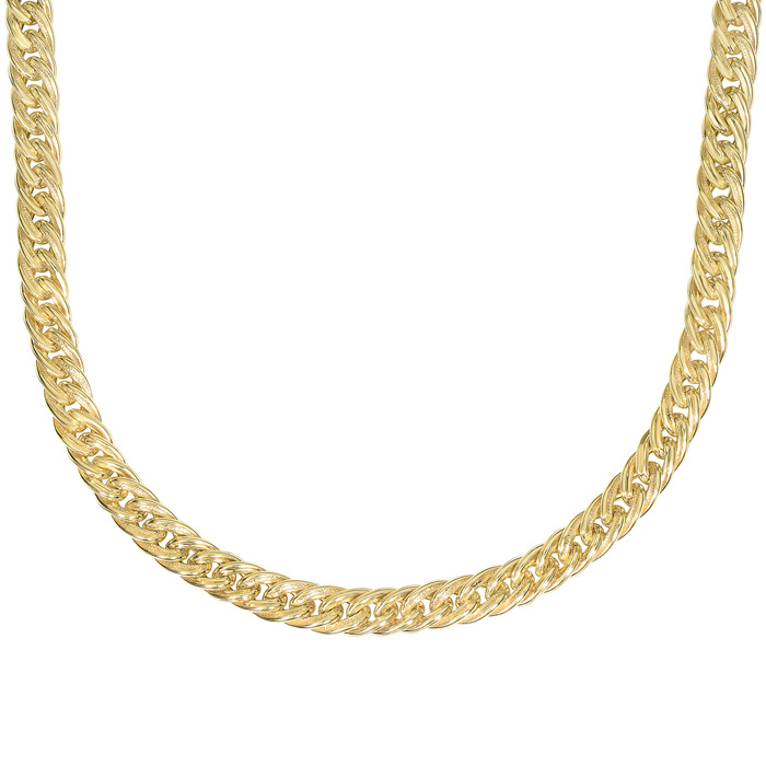 14K Yellow Gold (14.8 g) 18 Inch Ridged Fancy Link Necklace by Su