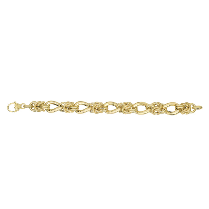 14K Yellow Gold (16.9 g) 8 Inch Textured & Shiny Multi Round Link